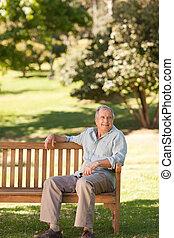 Elderly man sitting on a bench