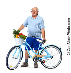 Elderly man with bicycle and vegetables.