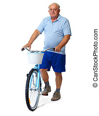 Elderly man with bicycle.