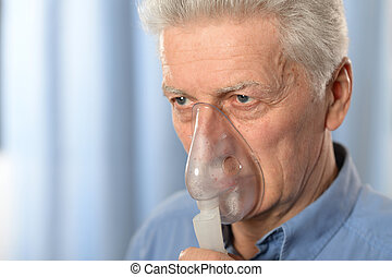 Elderly man with flu