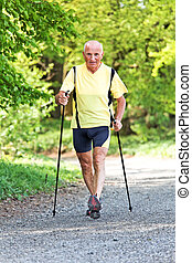 Elderly man with Nordic walking - Older Senior Nordic...