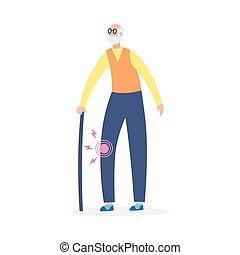 Elderly man with osteoarthritis in knee joint, flat vector illustration isolated.