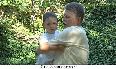 elderly man with young boy