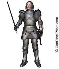 Elderly Mediaeval knight in 15th century Milanese armour, 3d digitally rendered illustration