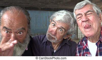 Elderly Men Acting Silly