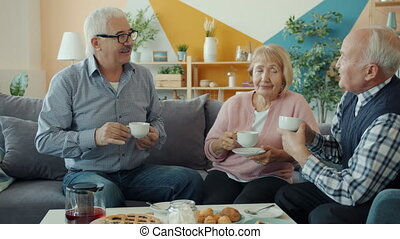 Elderly men and woman drinking tea and talking sitting on sofa at table at home