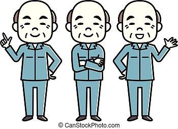 Elderly men in work clothes
