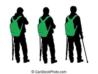 Elderly men with cane