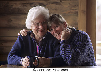 Elderly mother and middle-aged daughter