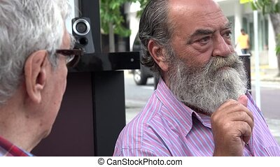 Elderly Old Bearded Man Talking