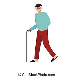 elderly old man walking with cane character