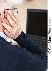 elderly on computer