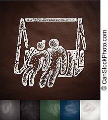 elderly on swing icon. Hand drawn vector illustration