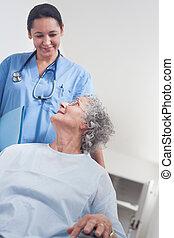 Elderly patient in a wheelchair