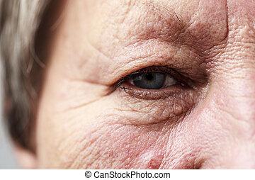 Elderly pensioner female eye closeup