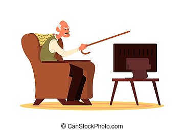 Elderly people and couple sitting on the sofa or armchair and watching TV
