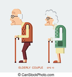 Elderly people.Vector old lady and old man in modern flat...