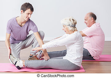 Elderly people do stretching
