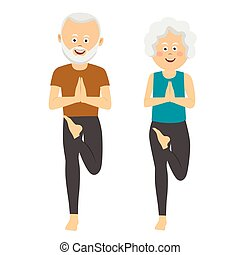 Elderly people doing exercises. Healthy active lifestyle retiree. Sport for grandparents, elder fitness, yoga