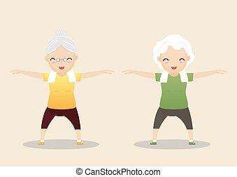 Elderly People Exercising Concept.