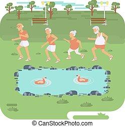 Elderly people jogging