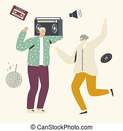 Elderly People Leisure or Active Hobby. Old Man and Woman Characters Dance with Tape Recorder. Cheerful Seniors