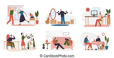 Elderly people lifestyle scene set, man woman read books, dance to music, do sports