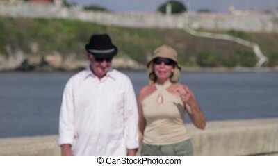 Elderly people on travel, seniors