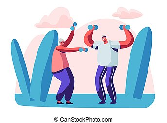 Elderly People Open Air Workout with Dumbbells. Aged Couple Engage Sport Outdoors. Happy Senior Man and Woman Training Together Open Air, Pensioners Healthy Lifestyle. Cartoon Flat Vector Illustration