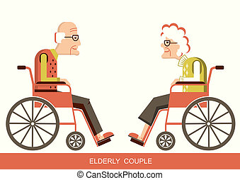 Elderly people. Pensioners in a wheelchairs