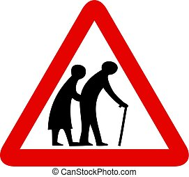 elderly people sign - Elderly people warning sign isolated...