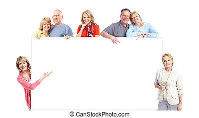Elderly people. - Happy senior people. Isolated over white...