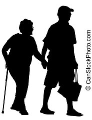 Elderly people - Two elderly people with cane one white...