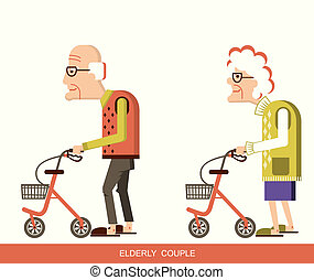 Disabled old man and old woman with walkers. Vector illustration isolated