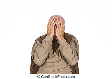 elderly retired man in sorrow - portrait of elderly retired...