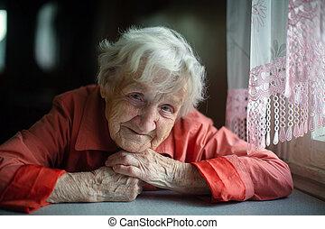 Elderly russian woman portrait.