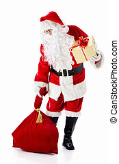 Elderly Santa Claus - Santa Claus with a bag and a gift on a...