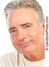 elderly senior man. Isolated over white background