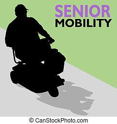 Elderly Senior Man Riding Scooter