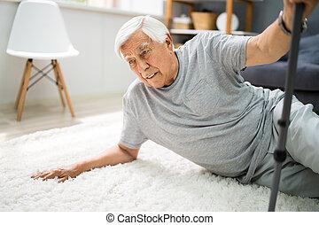 Elderly Senior Man Slip And Fall