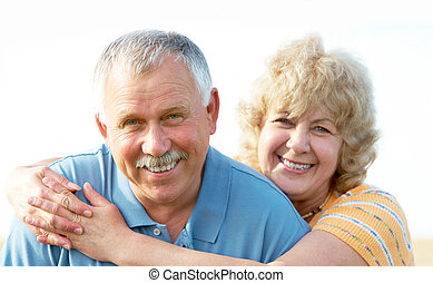 Elderly seniors couple - Smiling happy elderly seniors...