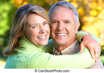 elderly seniors couple - Happy elderly seniors couple in...
