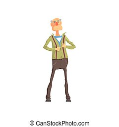 Elderly superhero revealing his true identity by tearing his shirt. Inspiring and heroic role model. Cartoon brave old grandfather character. Flat vector