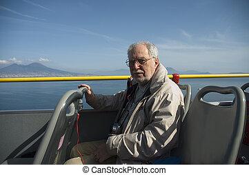 Elderly tourist in Naples