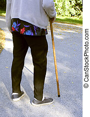 elderly with cane