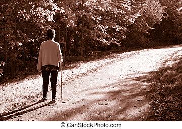 elderly with cane