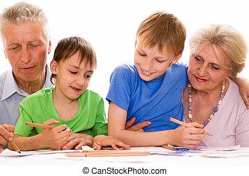elderly with their grandchildren
