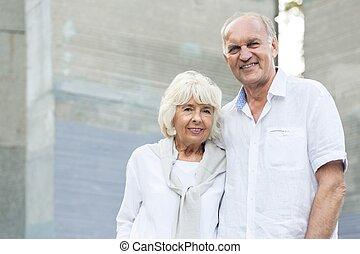 Elderly woman and man