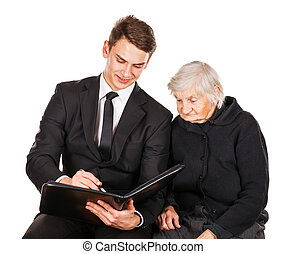 Elderly woman and young businessman