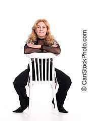 elderly woman at chair